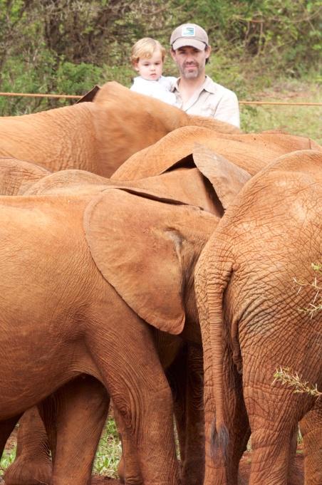 Simón en el orfanato de elefantes de Nairobi