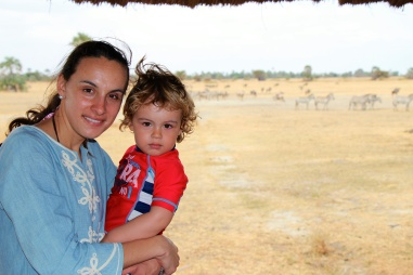 Con mamá en Maramboi tented lodge