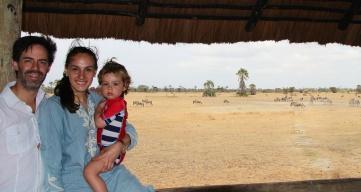 Con papás en Maramboi tented lodge